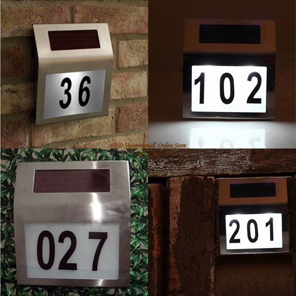 LTH001 – 1LED Outdoor Stainless Steel Plastic Solar House Number Light