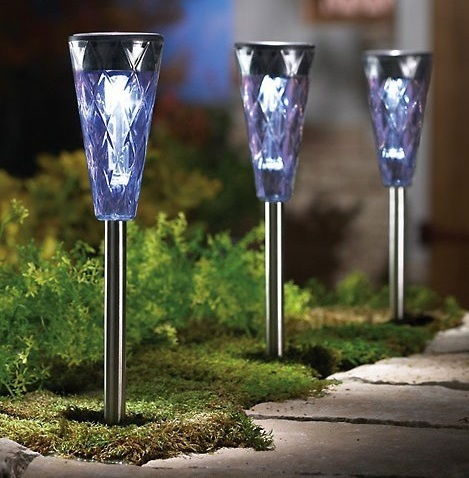 3PC Solar Faux Crystal Lights